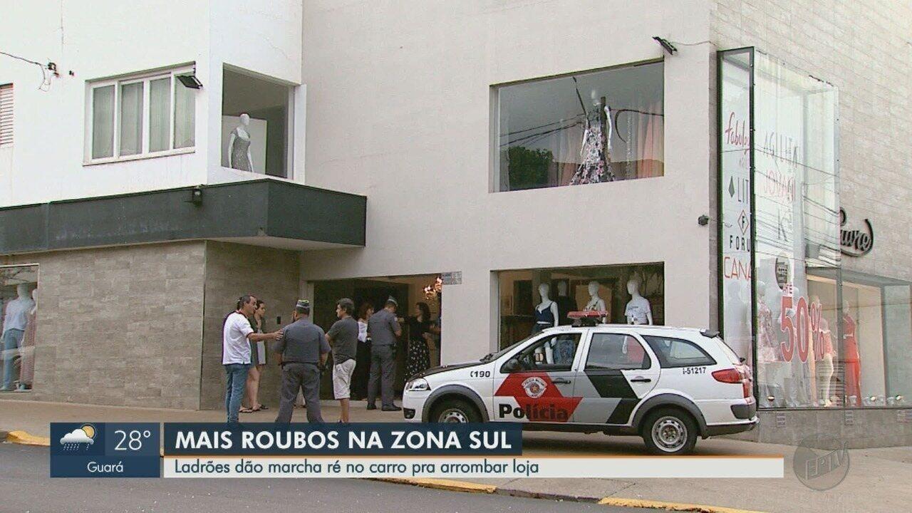 Ladrões voltam a invadir loja no Boulevard com uso de carro em Ribeirão, SP