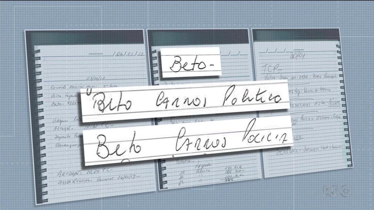 Agenda apreendida na Operação Rádio Patrulha tem anotações que citam Beto Richa