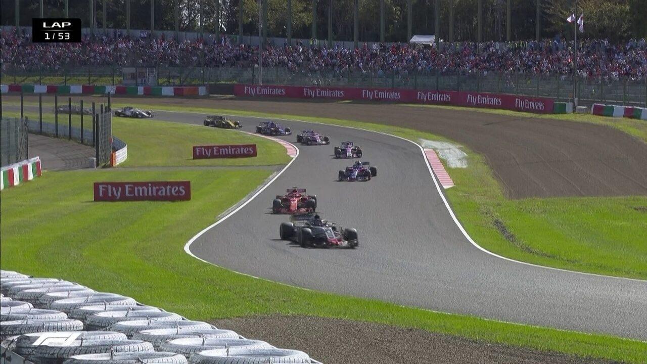 Vettel ganha duas posições na largada do GP do Japão e já está em sexto