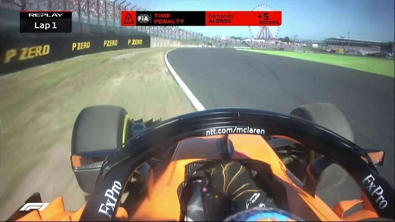 Fernando Alonso corta a chicane e recebe punição