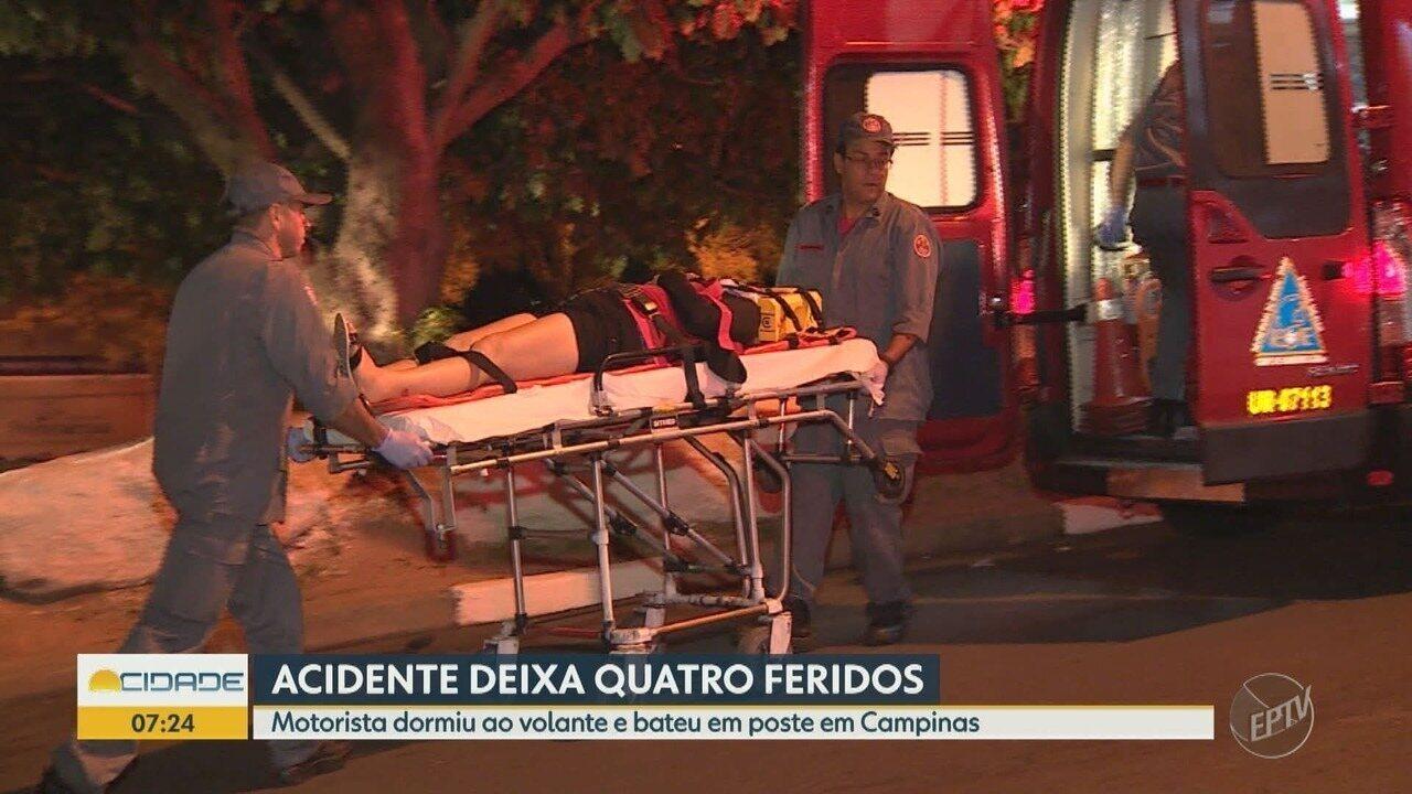 Motorista dorme ao volante e bate em poste, em Campinas; quatro pessoas ficam feridas