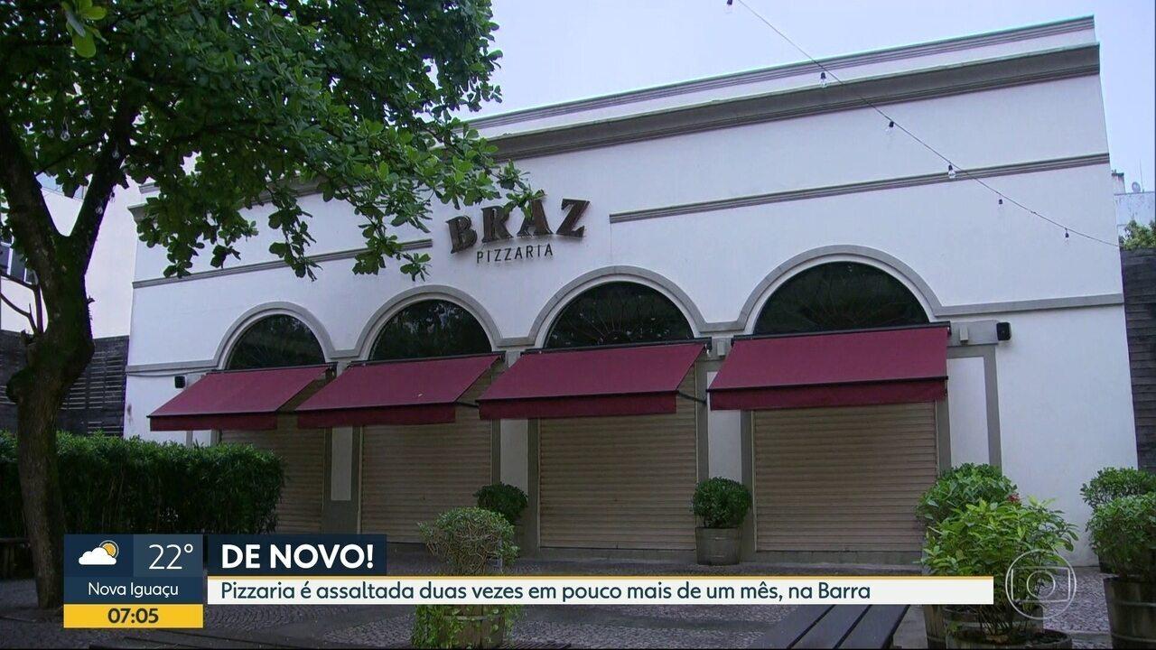 Criminosos armados fazem arrastão em pizzaria na Barra da Tijuca