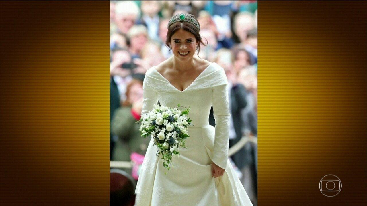 Neta da rainha Elizabeth, princesa Eugenie se casa em Windsor