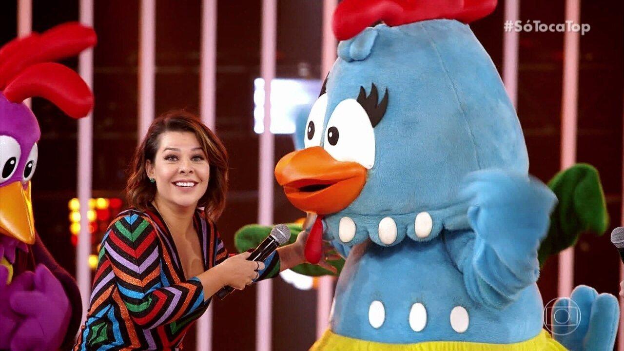 Fernanda Souza se empolga e entrevista a Galinha Pintadinha
