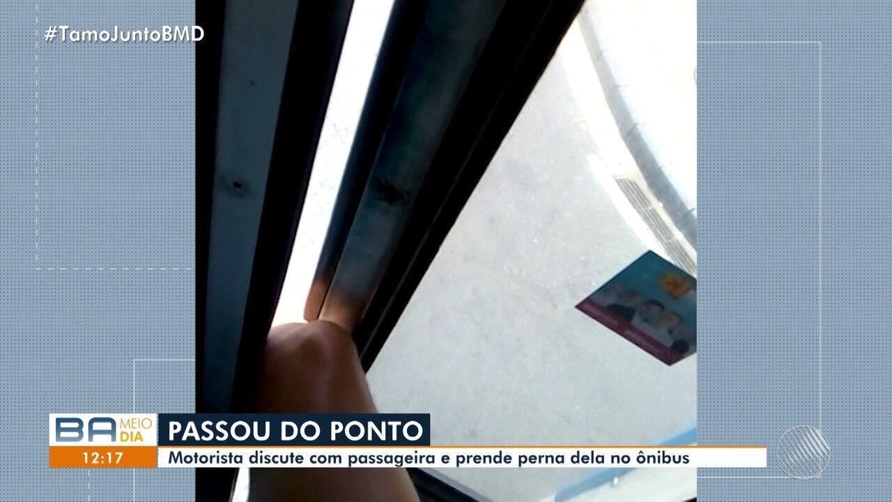 Denuncia: motorista fecha porta de ônibus e mulher fica com a perna presa
