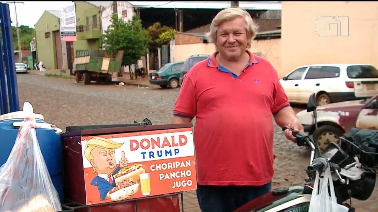 Sósia de Trump vende cachorro-quente no Paraguai