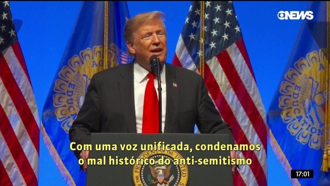 """Condenamos o mal histórico do anti-semitismo e todas as outras formas do mal"", diz Trump"