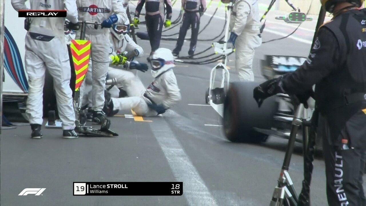 Mecânico da Williams é derrubado durante pit stop de Stroll
