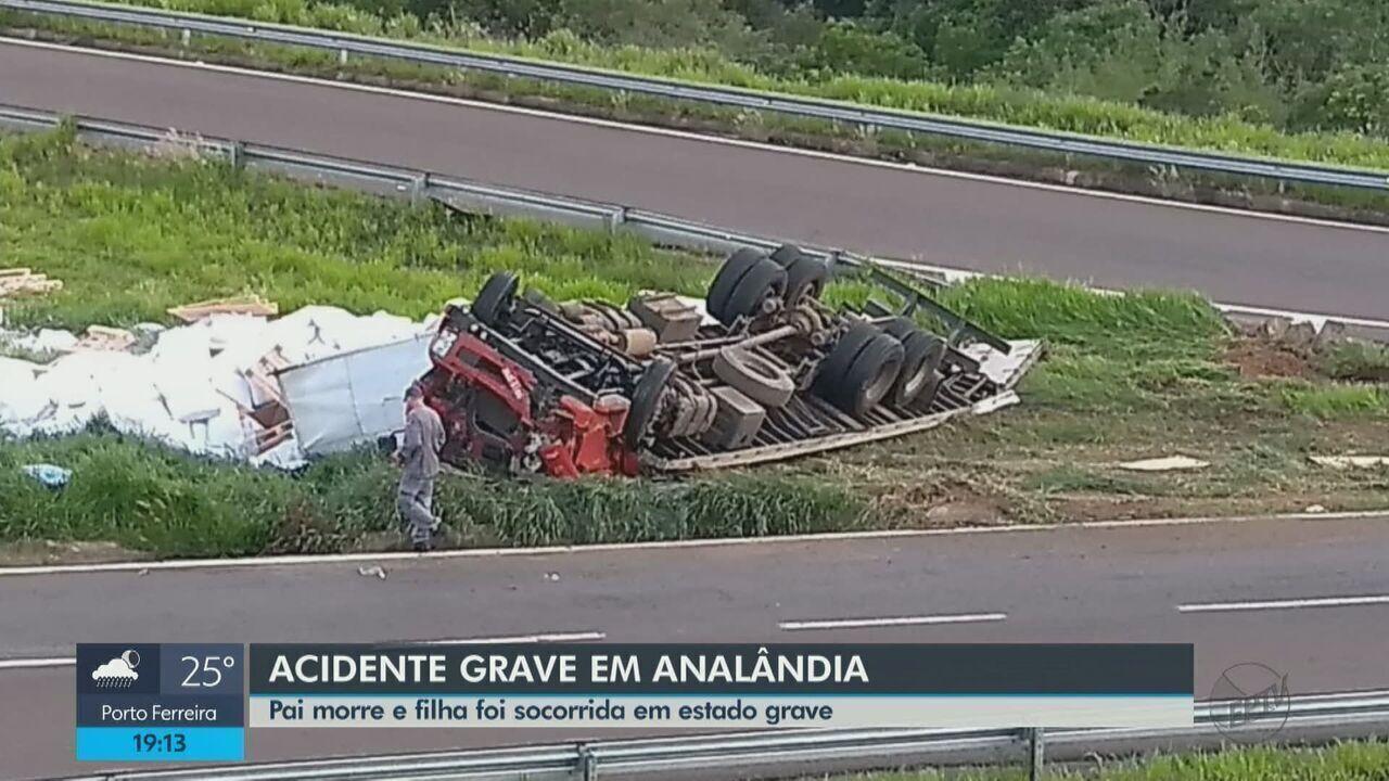 Pai morre e filha fica ferida após colisão de carro e caminhão na Washington Luís em Analâ