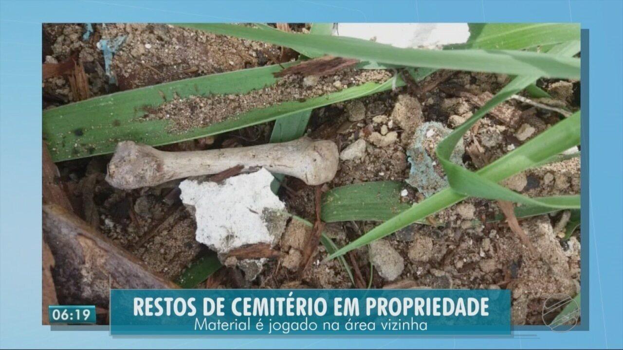 Resíduos de cemitério são encontrados em propriedade rural