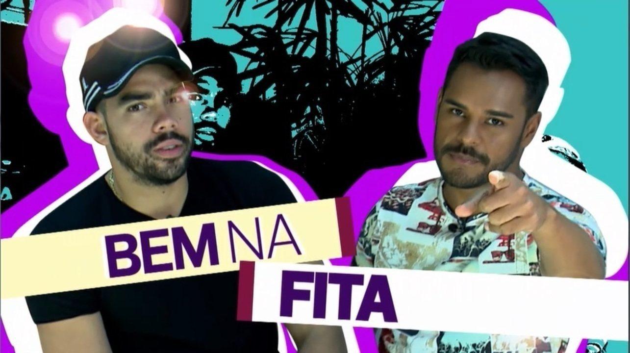 Pablo bate um papo com o cantor Gabriel Diniz, que participa do jogo 'Bem na Fita'