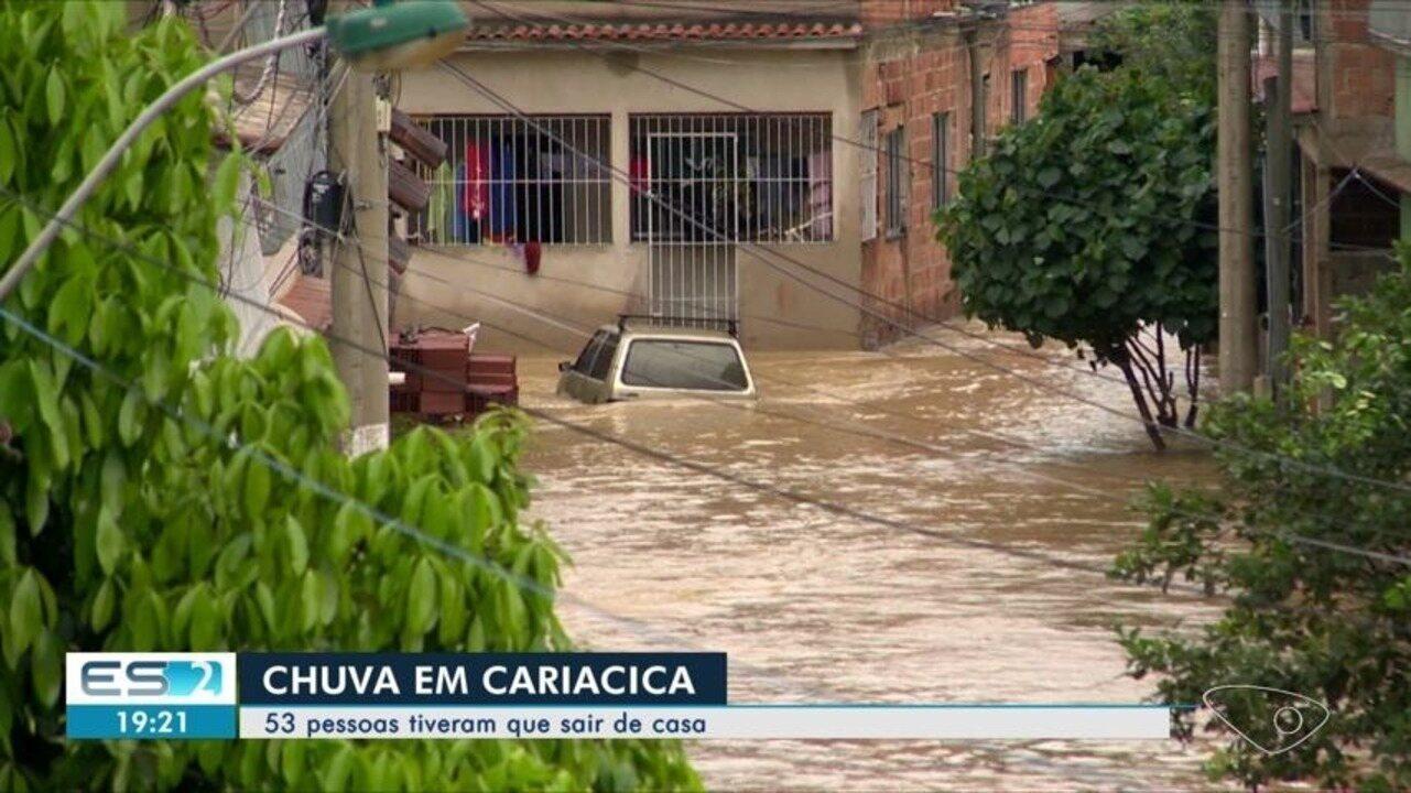 Em Cariacica, 53 pessoas tiveram que deixar suas casas por causa das chuvas