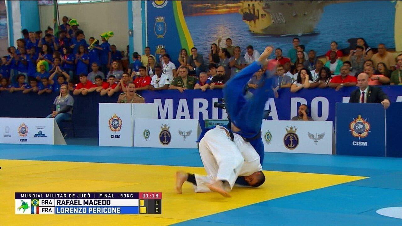 Rafael Macedo vence francês e fica com o ouro nos 90kg do Mundial Militar de judô