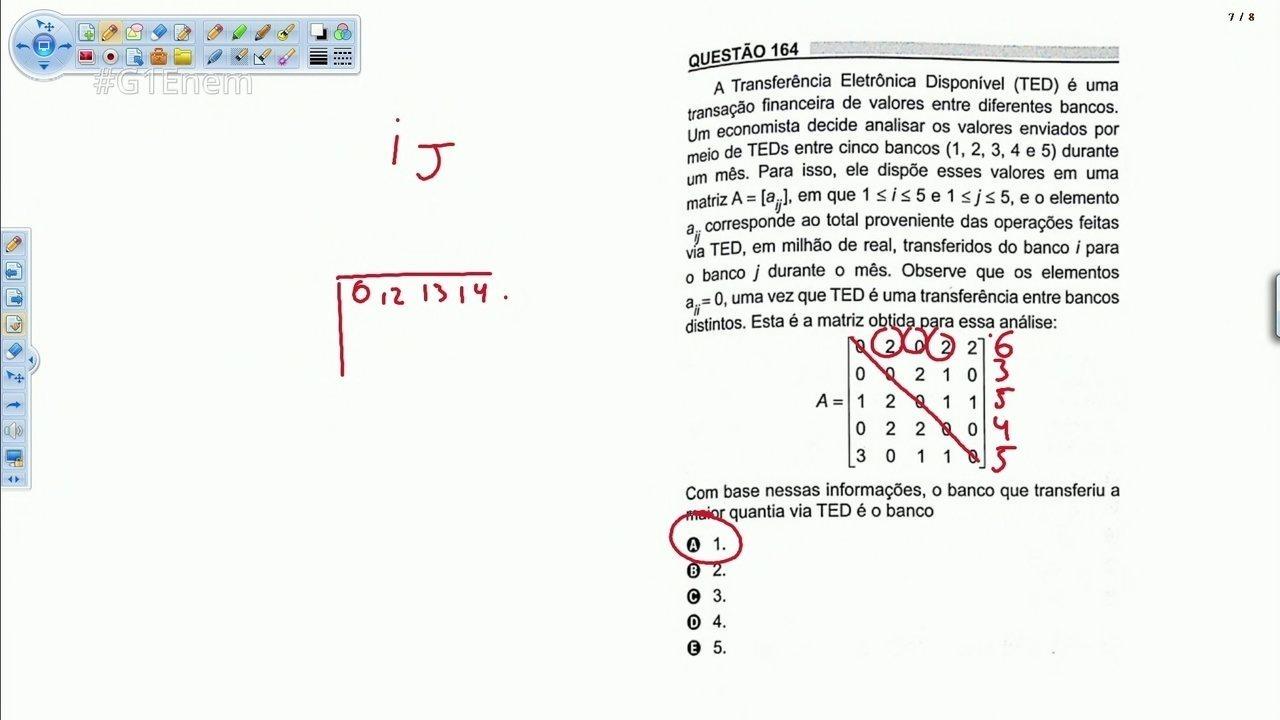 Veja a resolução da questão do Enem sobre matrizes na 'transferência bancária'