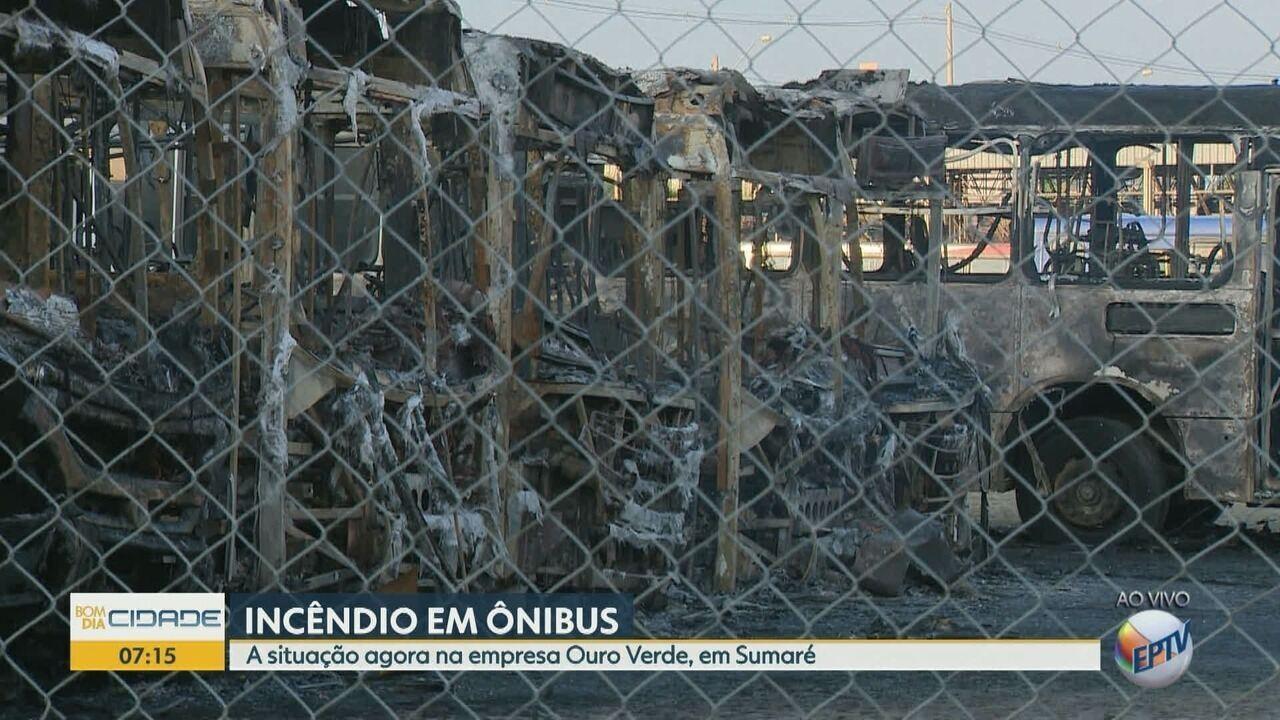Incêndio destrói sete ônibus na garagem da Ouro Verde, em Sumaré