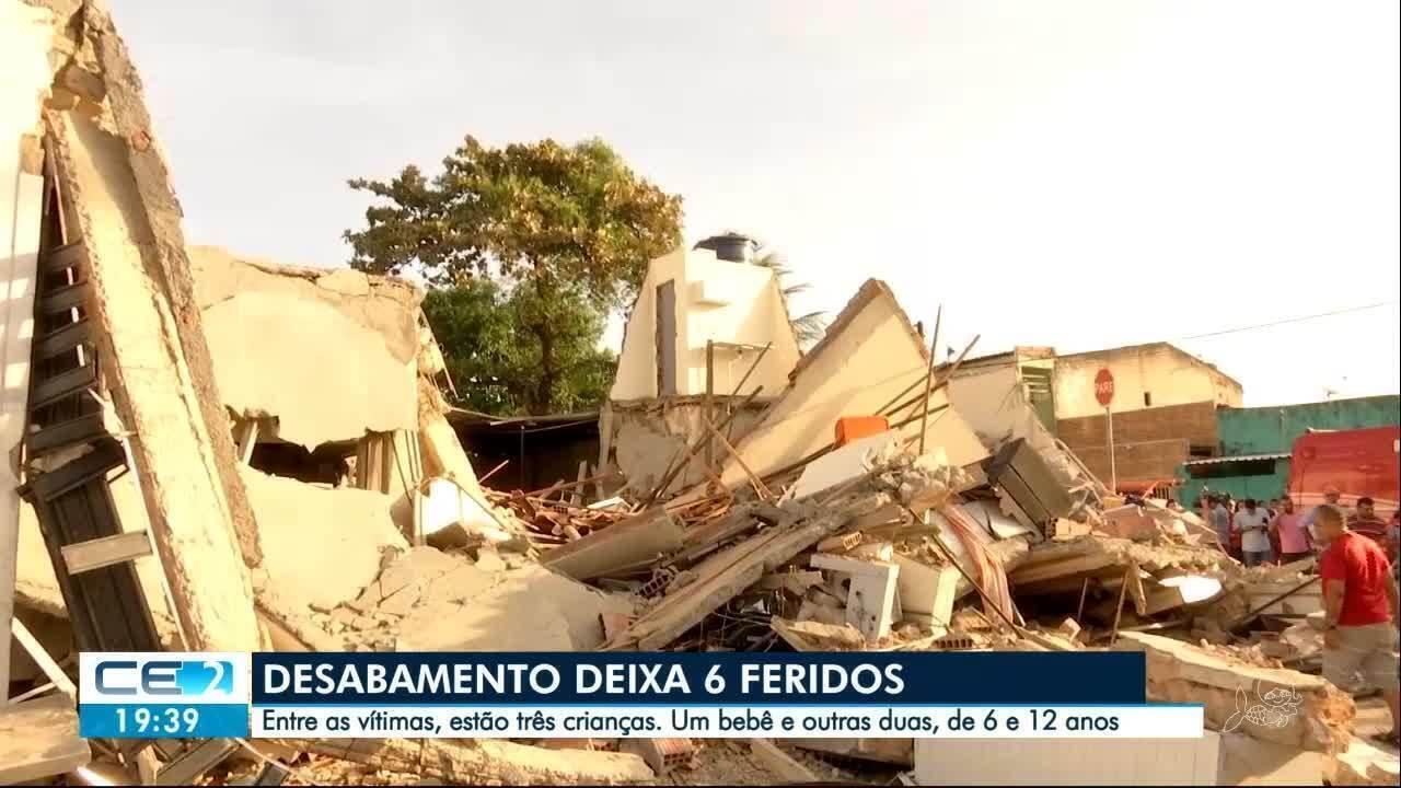 Desabamento de casa em Fortaleza deixa seis pessoas feridas