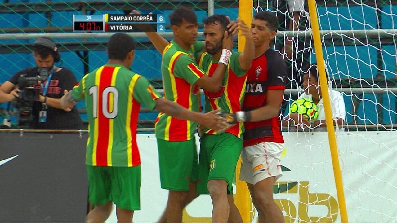 Os gols de Sampaio Corrêa 7 x 2 Vitória pela final da Copa do Brasil de futebol de areia