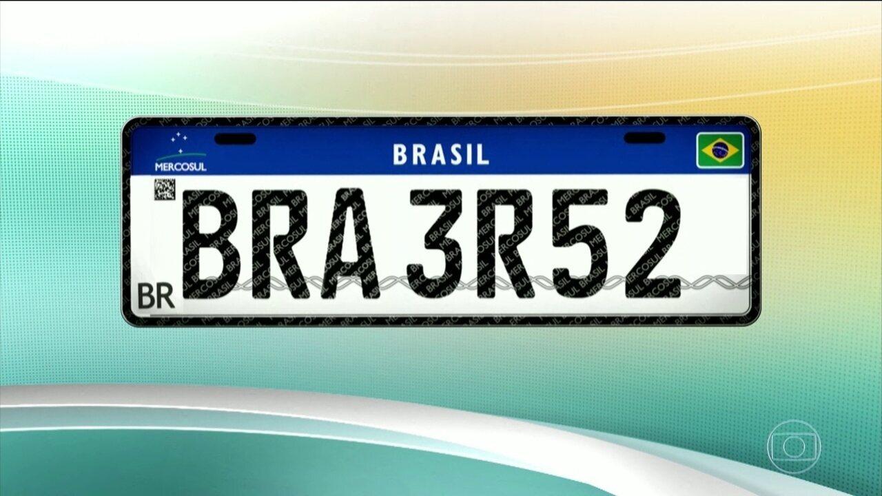 Governo decide retirar a bandeira do estado e o brasão do município das placas do Mercosul