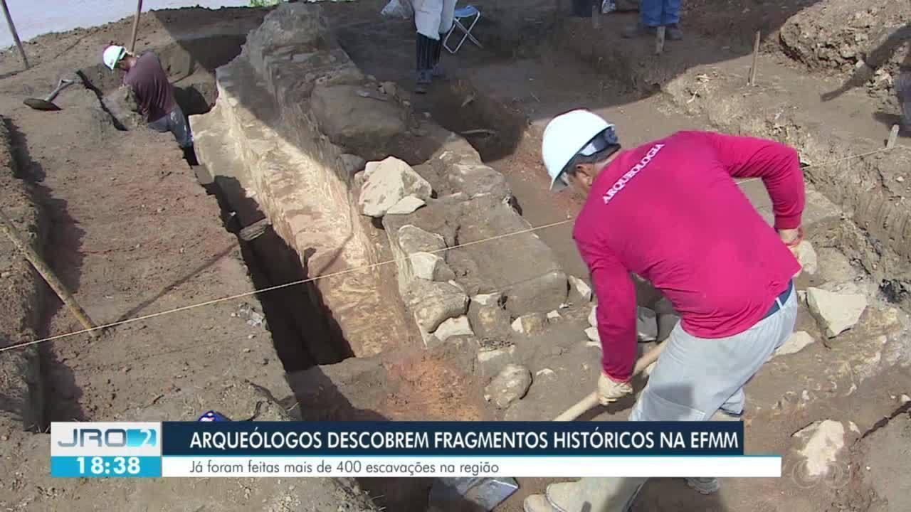 Arqueólogos descobrem fragmentos na EFMM