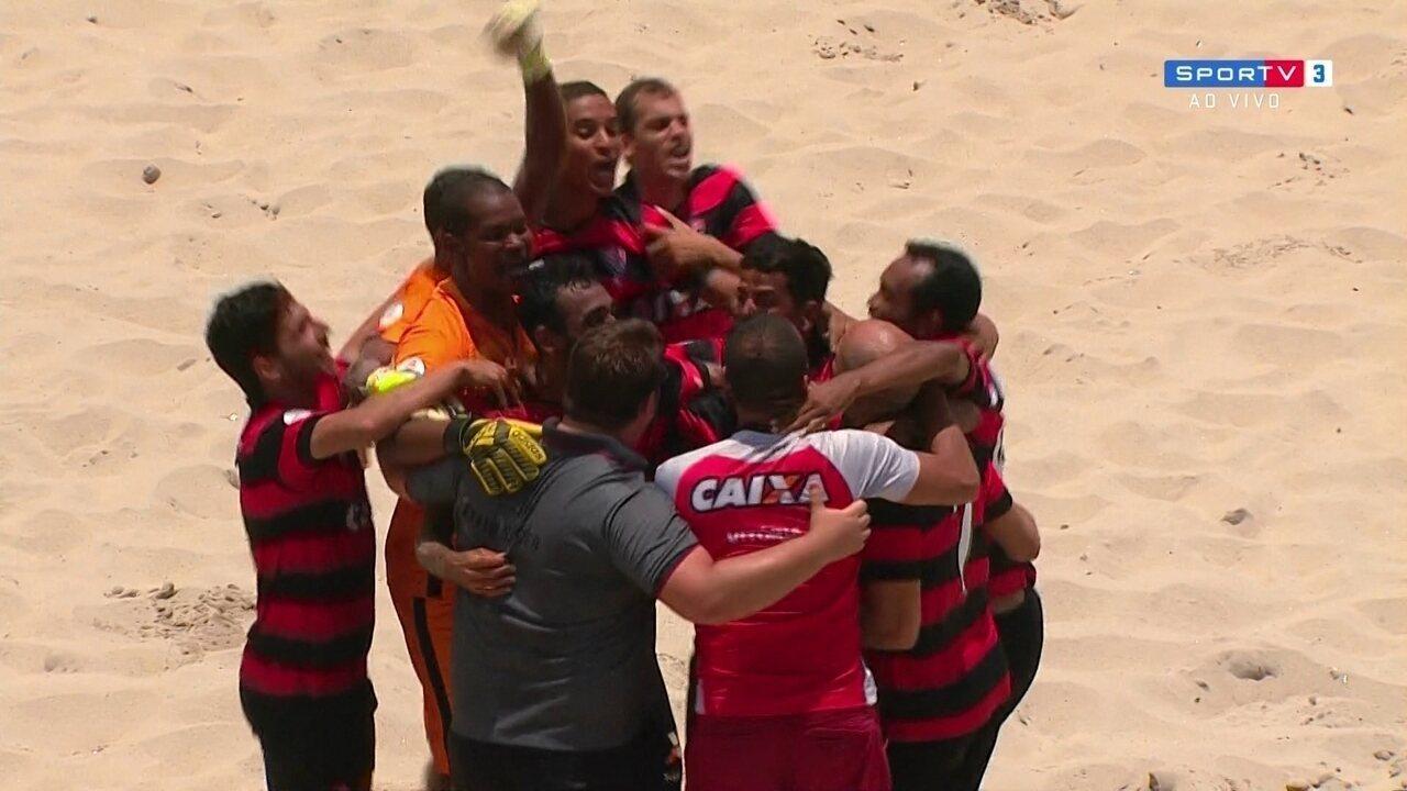 Os gols de Vasco 8 (2) x (3) 8 Vitória pelo ouro da Libertadores de futebol de areia