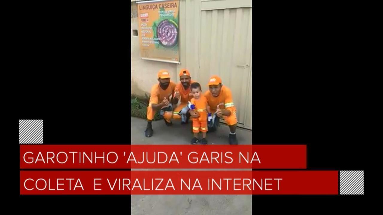 Garotinho 'ajuda' garis na coleta e vídeo viraliza na internet