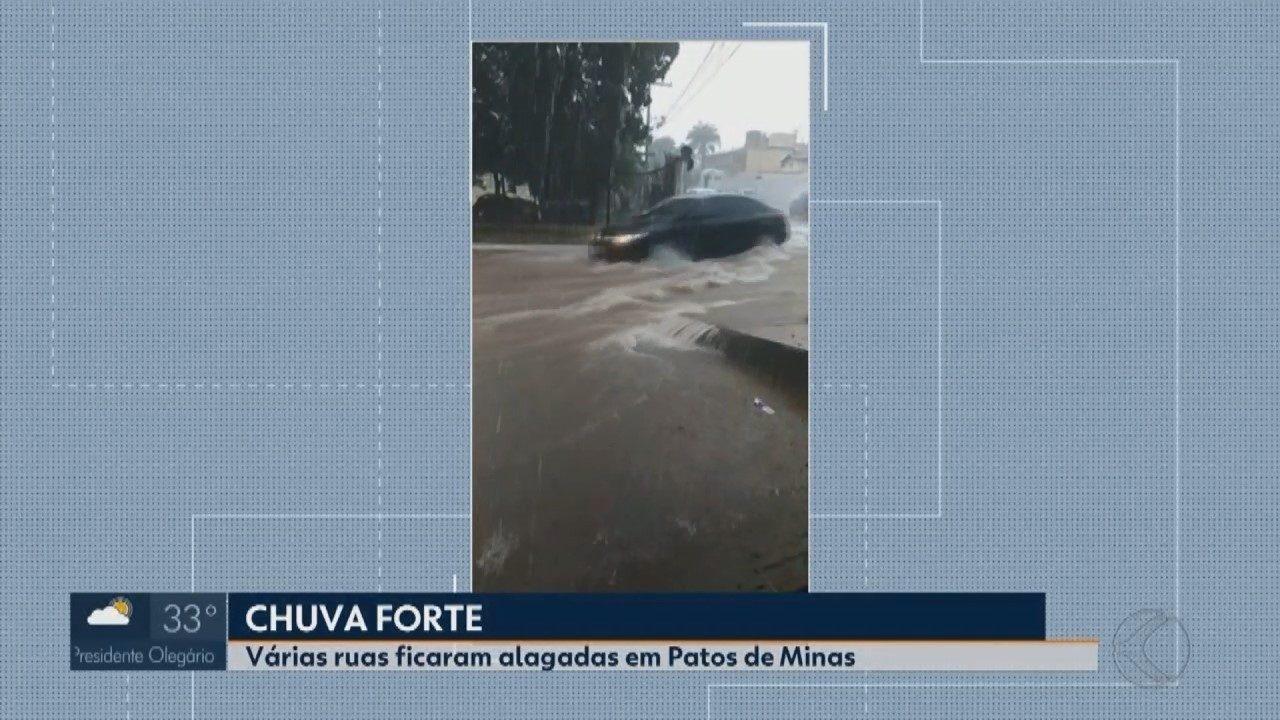 Tempestade arrasta veículos e alaga vias em Patos de Minas