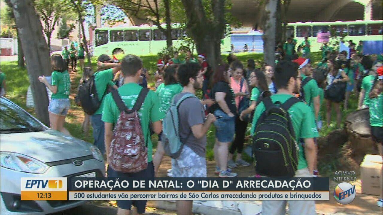Estudantes devem percorrer 16 bairros de São Carlos para arrecadar produtos e brinquedos