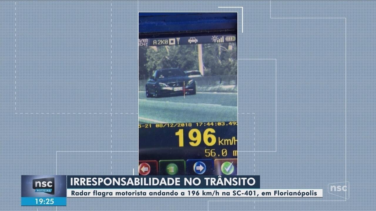 Radar flagra motorista conduzindo veículo a 196 km/h na SC-401 em Florianópolis