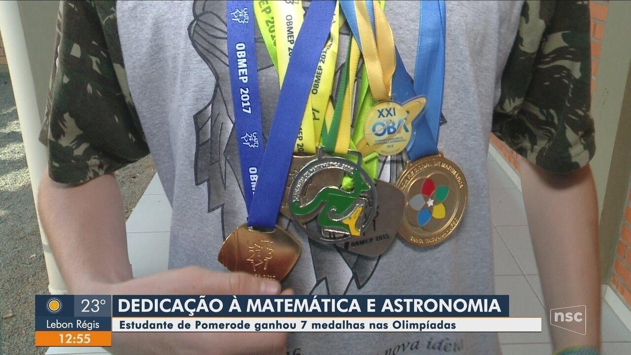 Estudante de Pomerode conquista 7 medalhas em olimpíadas de matemática e astronomia