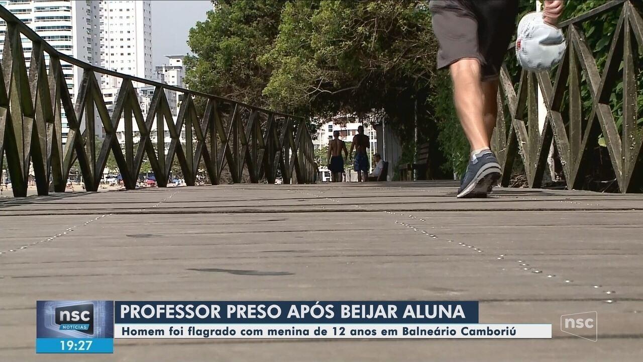 Professor de 41 anos é preso ao beijar aluna de 12 anos em praia de Balneário Camboriú