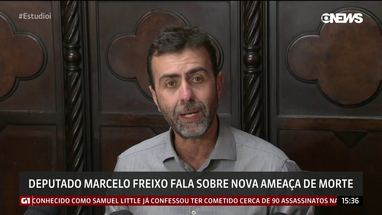 Deputado Marcelo Freixo (PSOL) em entrevista coletiva sobre nova ameaça de morte