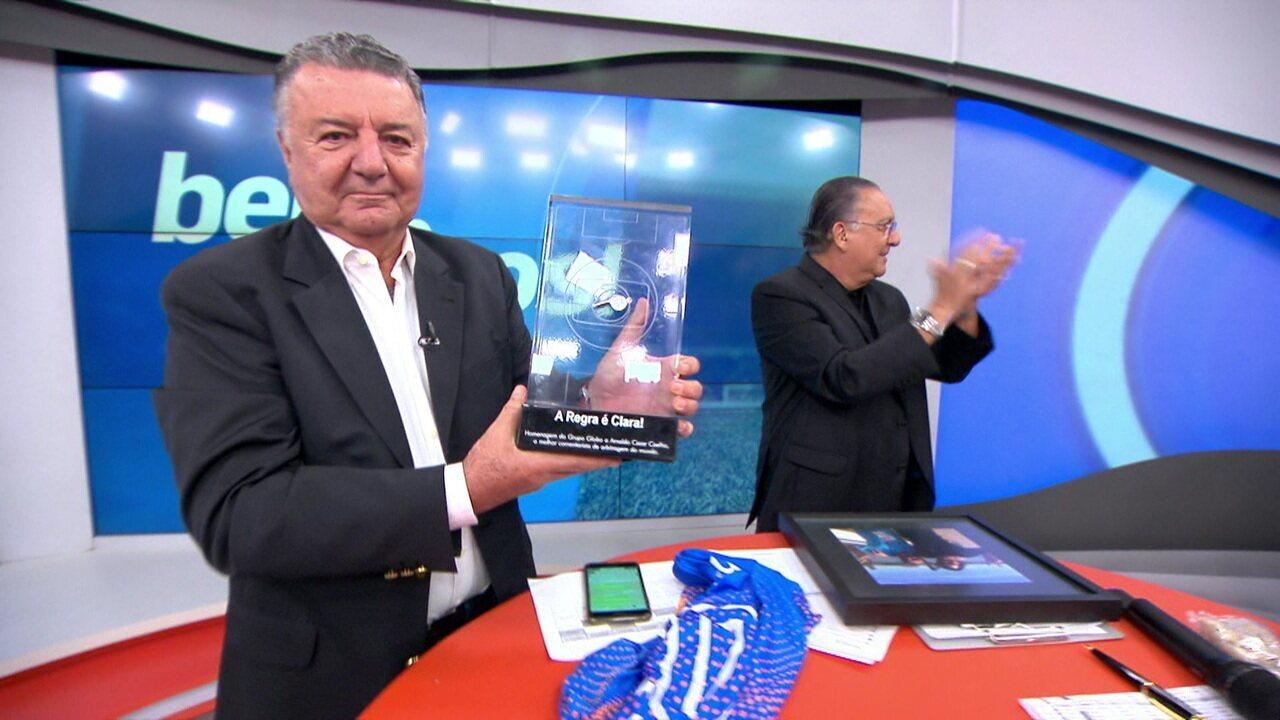 Galvão homenageia Arnaldo Cézar Coelho, em sua despedida do Bem, Amigos