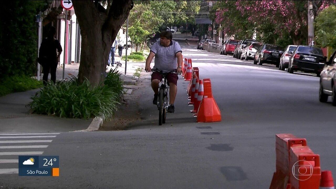Nova ciclofaixa é instalada na região de Pinheiros