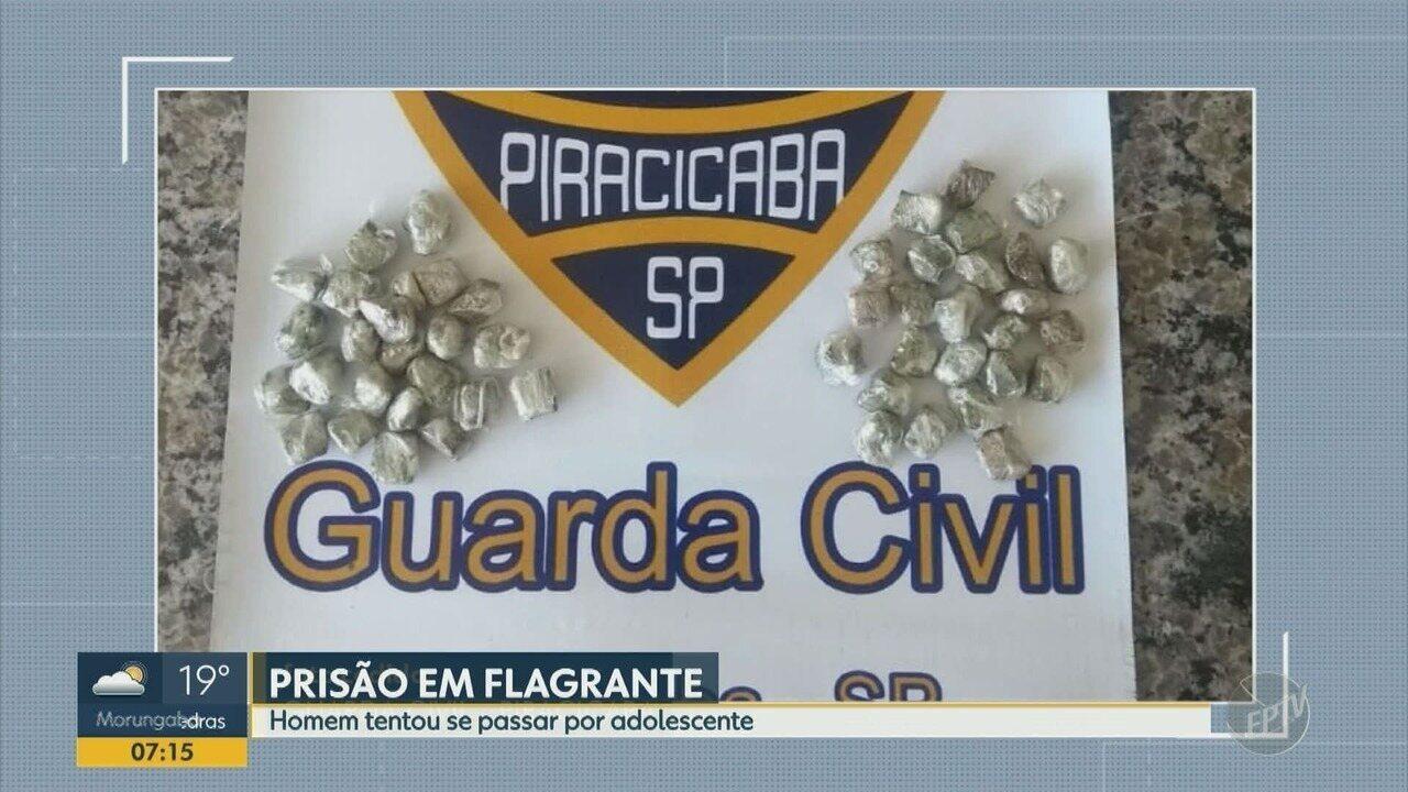 Homem detido com porções de maconha tenta se passar por menor de idade em Piracicaba