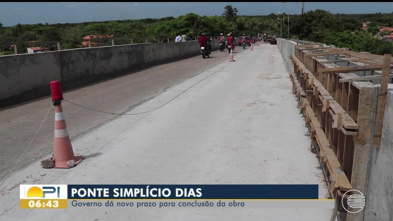 Governo dá novo prazo para conclusão da obra da Ponte Simplício Dias