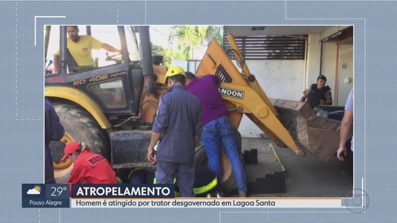 Homem é atingido por trator desgovernado em Lagoa Santa