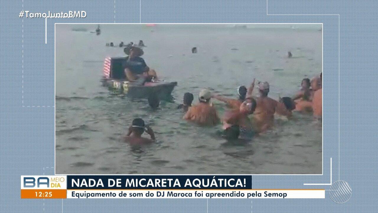 Caso 'Micareta Aquática': equipamento de som de dj é apreendido no Porto da Barra