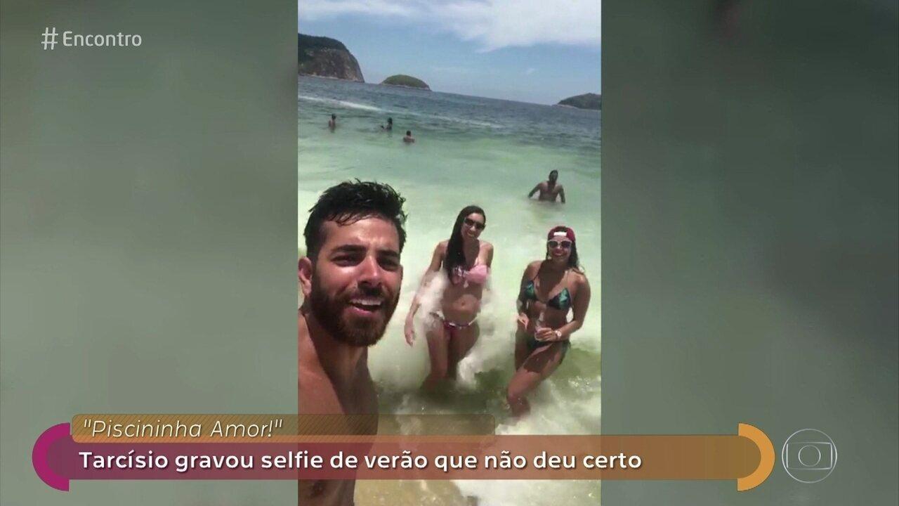 Tarcísio e suas amigas fizeram uma selfie de verão que não deu certo
