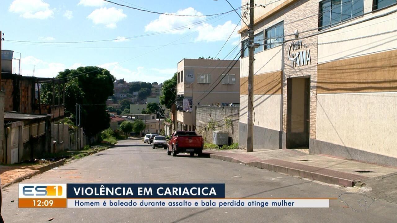 Homem é baleado durante assalto e bala perdida atinge mulher em Cariacica, ES