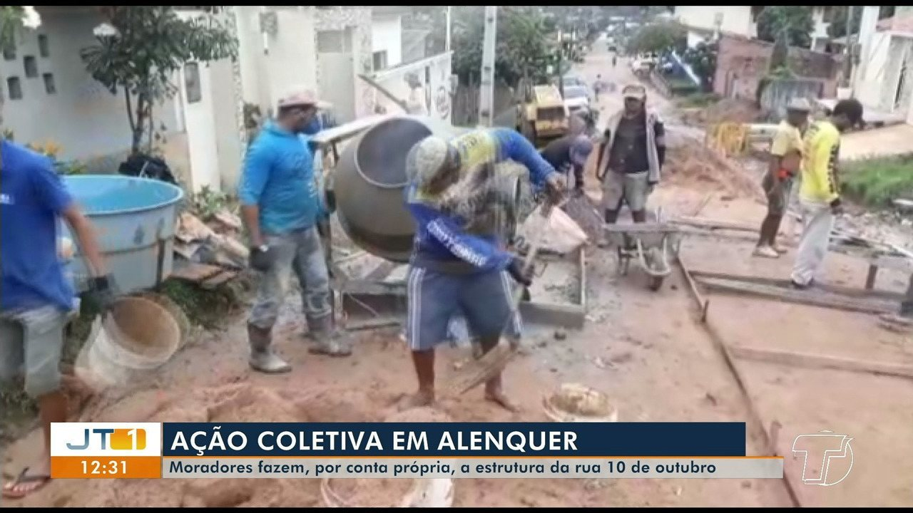 Iniciativa de moradores constrói calçamento em rua de Alenquer, no PA