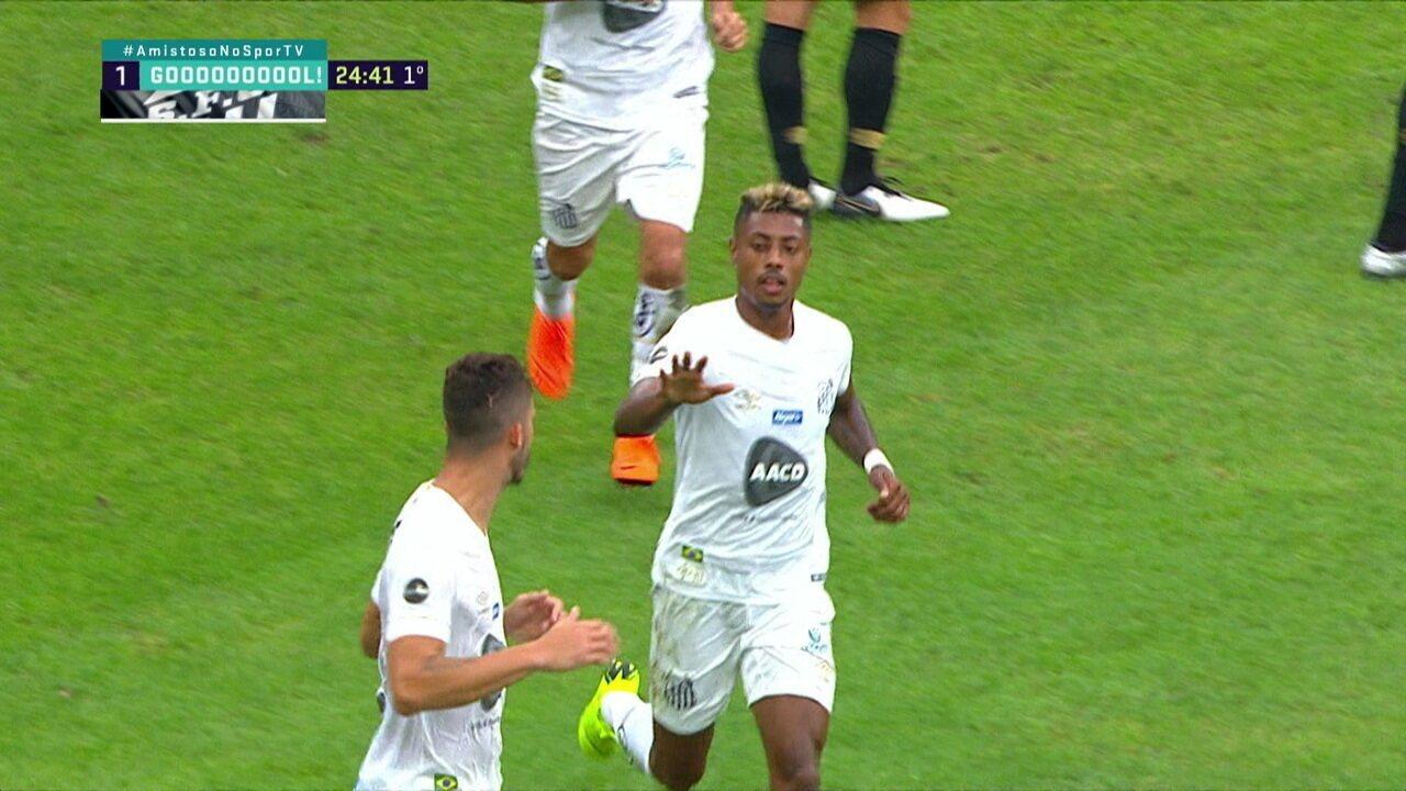 Gol do Santos! Jean Mota cruza na área e Pedro Henrique faz contra aos 24 do 1º tempo
