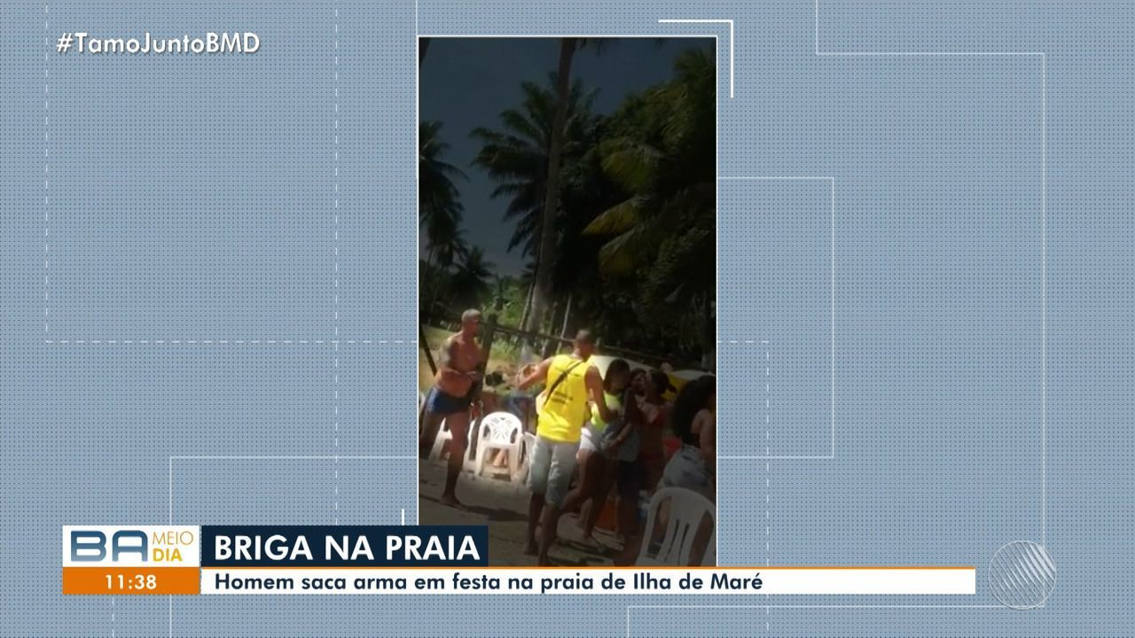 Homem saca arma durante festa em Ilha de Maré