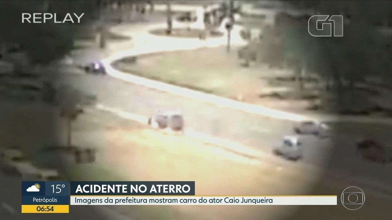 Vídeo mostra carro do ator Caio Junqueira sainda da pista, no Aterro do Flamengo