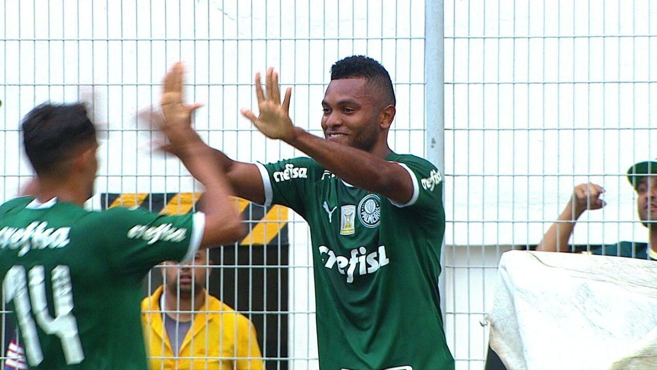 Gol do Palmeiras! Gustavo Scarpa faz o levantamento para o Borja, que cabeceia e abre o placar, aos 13' do 1ºT