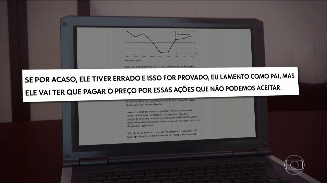 Em Davos, Bolsonaro fala sobre movimentações financeira do filho, Flávio