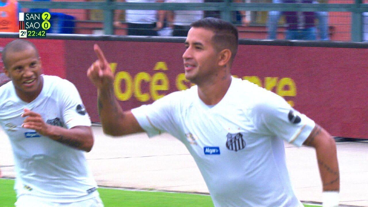 Os gols de Santos 2 x 0 São Paulo pelo Campeonato Paulista
