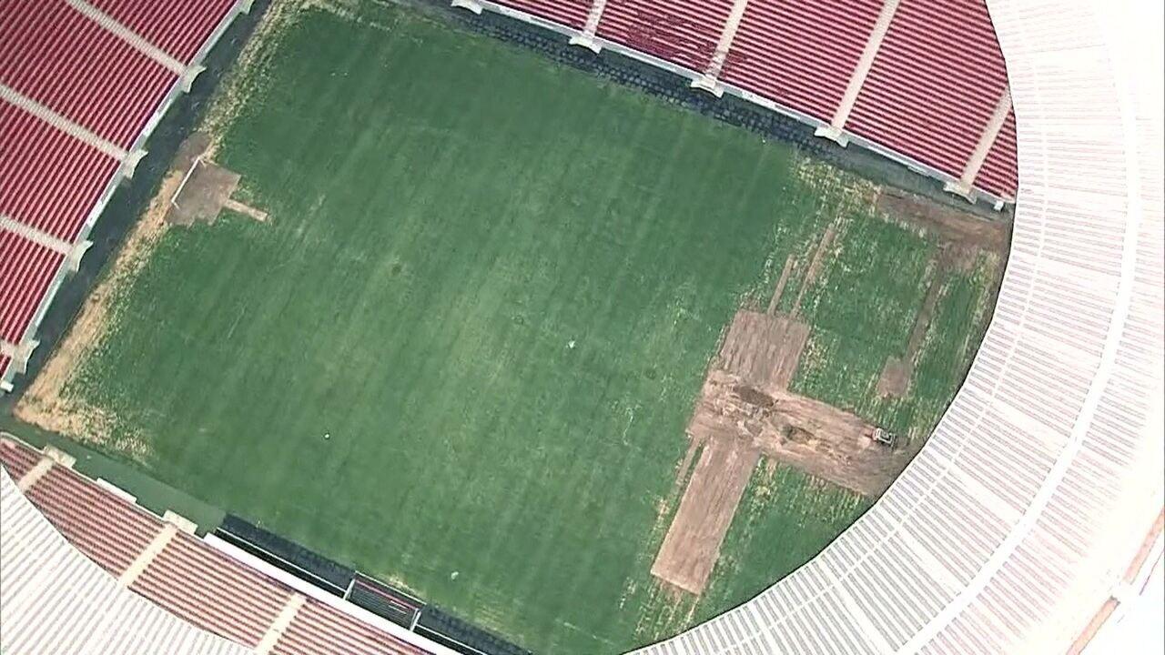 Com gramado castigado, Mané Garrincha não sedia jogos na primeira rodada do Candangão
