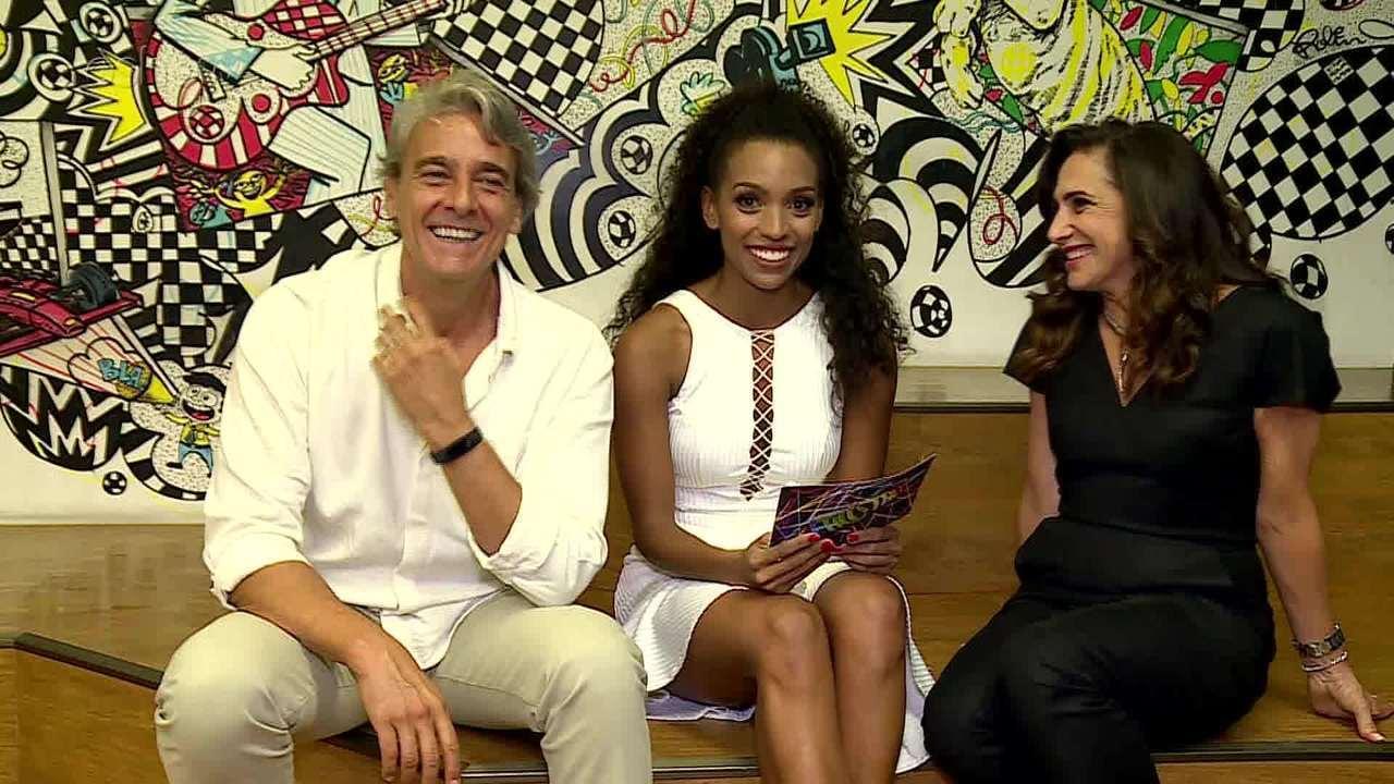 Alexandre Borges e Totia Meirelles participam de quiz nos bastidores do 'Domingão'