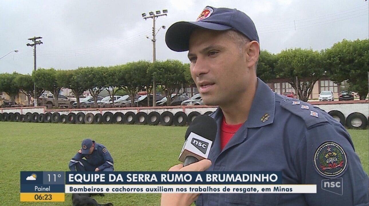Equipe do Corpo de Bombeiros de Lages vão auxiliar nas buscas em Brumadinho