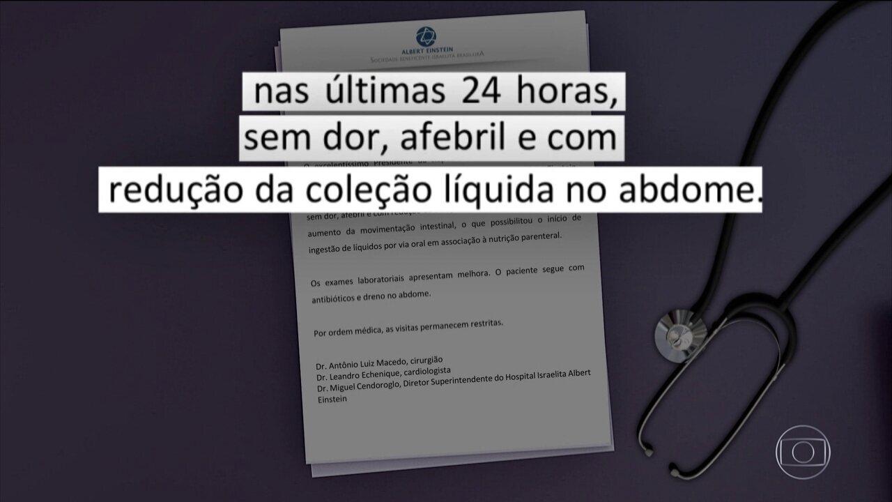 Bolsonaro já bebe líquidos; boletim médico informa melhora